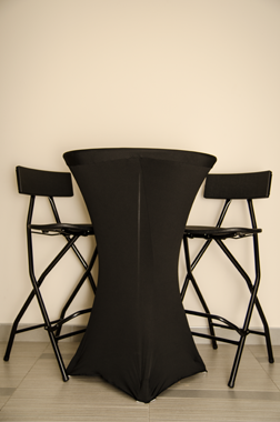 cruiser table with black stretch tablecloth